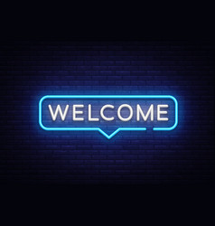 Welcome neon text welcome neon sign vector
