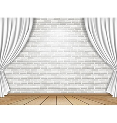 White curtains and brick wall background vector