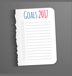 White sheet with inscription goals 2017 leaf vector