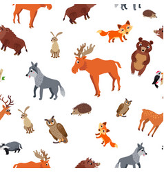 wild europe animals seamless pattern in flat style vector image