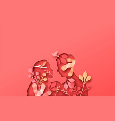 Woman man couple with papercut nature plant vector