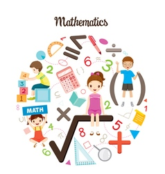 Children With Mathematics Objects And Icons vector image