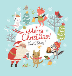 christmas card with santa and animals vector image vector image
