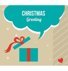 christmas greeting card with retro colored present vector image vector image