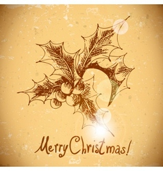 Christmas Holly Vintage background vector image vector image