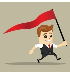 business man smile and run with flag vector image vector image
