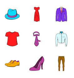 fashion icons set cartoon style vector image