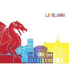 Ljubljana skyline pop vector