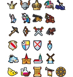 Set of medieval icons vector image