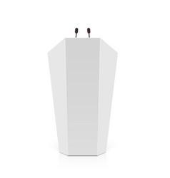 white rostrum podium tribune with microphones vector image vector image