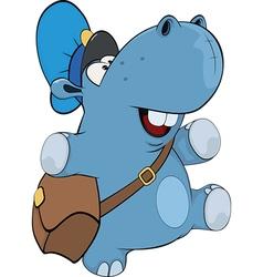 A little hippo postman Cartoon vector image vector image