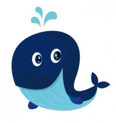big blue ocean cartoon whale vector image vector image