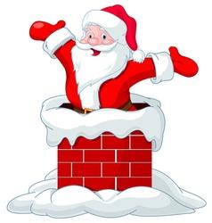 Santa Claus jumping from chimney vector image vector image