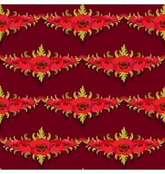 Seamless pattern Garland of poppies on burgundy vector image