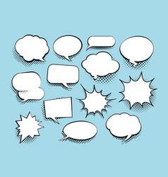 Set of comic art speech bubbles with halftone vector