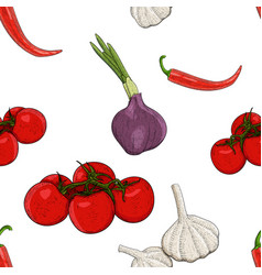 vegetables hand drawn colored sketch as seamless vector image
