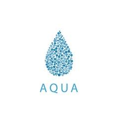 Water drop mockup logo small vibrant blue bubbles vector image vector image