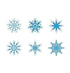 Blue frozen set of snowflakes isolated on white vector image