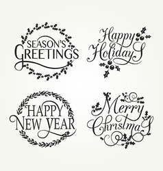 Hand sketched Happy holidays badge and icon set vector image
