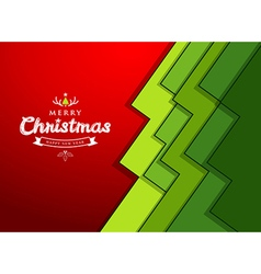 Merry Christmas paper green overlap tree design vector image vector image
