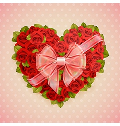 red roses heart vector image vector image