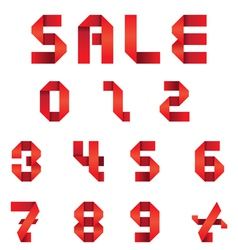 Sale Text and Numbers Set Origami Style vector image