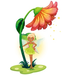A fairy standing below the flower vector image