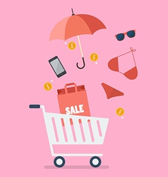 Add women clothing and accessories into cart vector image