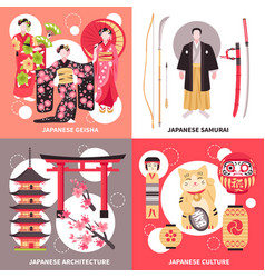 Ancient japan flat concept vector