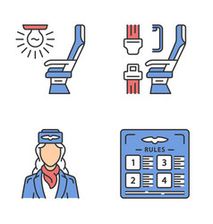 Aviation services color icons set vector