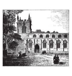 bangor cathedral caernarvonshire vintage engraving vector image