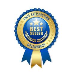 best seller rosette on white background vector image