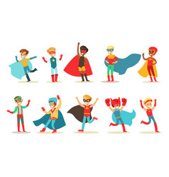 boys in superhero costume set cute little super vector image
