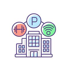 Building amenities rgb color icon vector