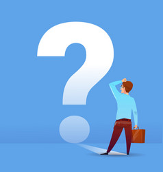 Businessman thinking question mark ponder problem vector