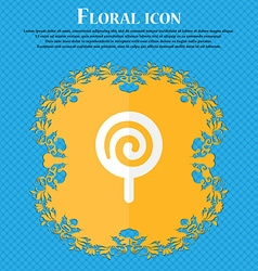 candy Floral flat design on a blue abstract vector image