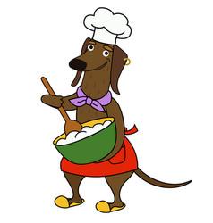 Cartoon dachshund chef cooks porridge vector