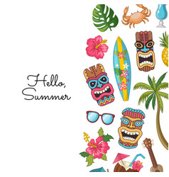cartoon summer travel elements background vector image
