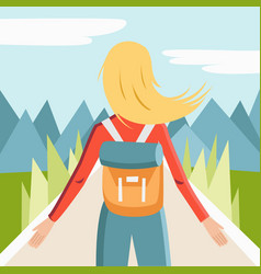 character of girl with backpack in mointains in vector image