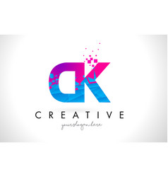 ck c k letter logo with shattered broken blue vector image