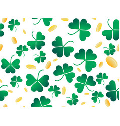clover leaves and golden coins seamless pattern vector image