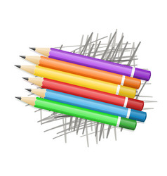 colored pencils on scribble vector image