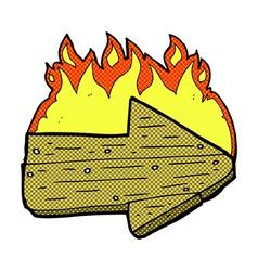 comic cartoon burning direction arrow vector image