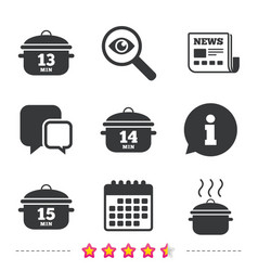Cooking pan icons boil fifteen minutes vector