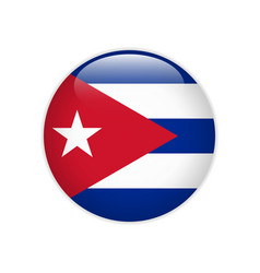 cuba flag on button vector image