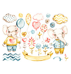 Cute elephant baby boy watercolor nursery vector