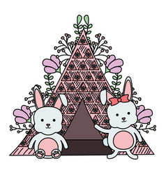 Cute little rabbits with tent and floral vector