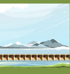Dam water landscape vector