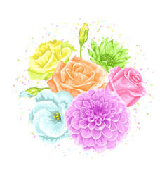 Decorative bouquet with delicate flowers object vector