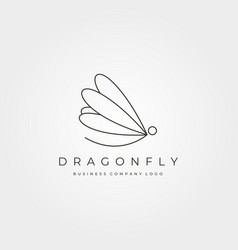 dragonfly minimalist logo insect symbol design vector image